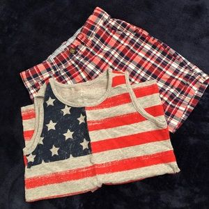 Carter's boys red, white and blue tank/short set.